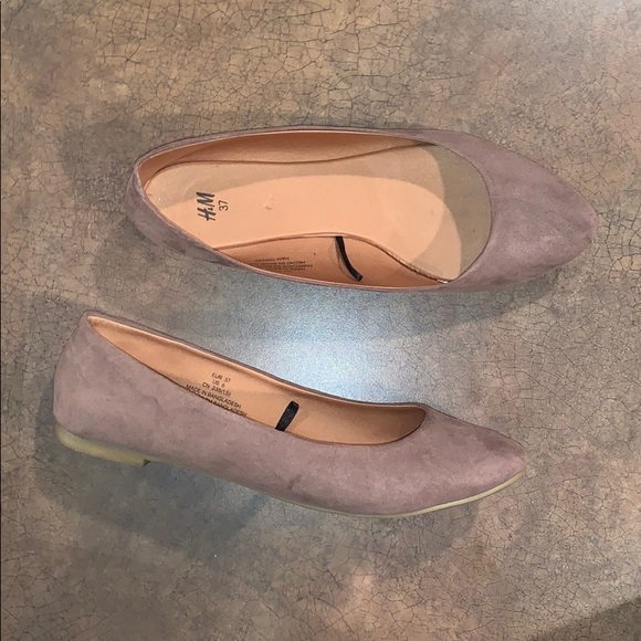 H&M Taupe Faux Suede Pointed Flats Brown Tan
